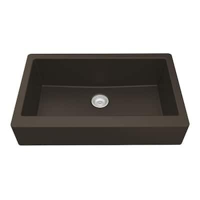 Retrofit Farmhouse/Apron-Front Quartz Composite 34 in. Single Bowl Kitchen Sink in Brown