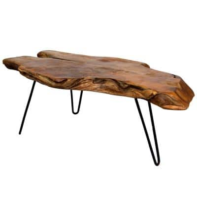 Badang 40 in. Clear Lacquer/Black Medium Specialty Wood Coffee Table with Live Edge