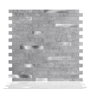 Silver Grey 11.5 in. W x 11.75 in. H Peel and Stick Decorative Metallic Wall Tile Backsplash (6-Tiles)