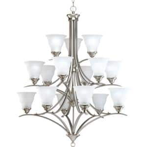 Trinity Collection 15-Light Brushed Nickel Etched Glass Traditional Chandelier Light