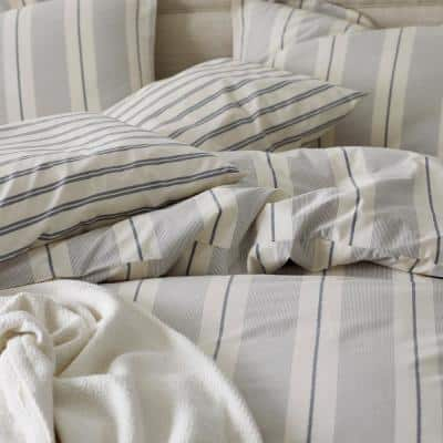 Wide Stripe Yarn Dyed Cotton Percale Duvet Cover