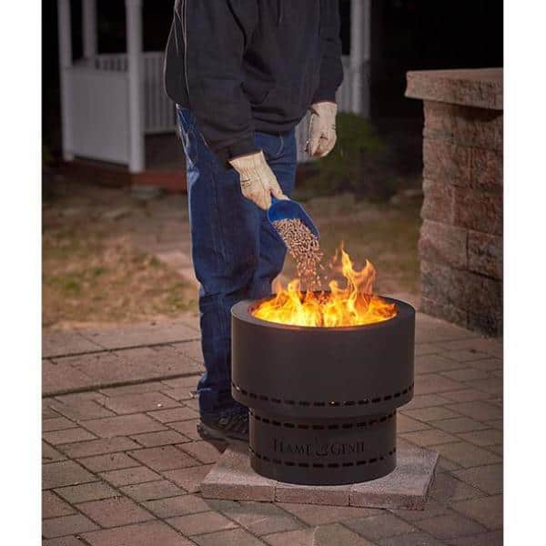 Hy C Flame Genie 19 In X 16 25 In Round Steel Wood Inferno Pellet Fire Pit In Black Fg 19 The Home Depot