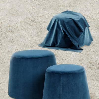 Stylish Dark Blue Velvet Ottoman Tapered Pouf Footstool (Set of 2 )