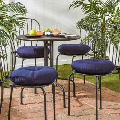 Solid Navy 15 in. Round Outdoor Seat Cushion (4-Pack)