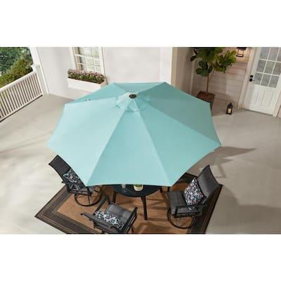 9 ft. Aluminum Market Crank and Tilt Patio Umbrella in Haze Blue