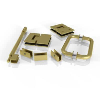 78 in. Glass Hinged Hardware Pack in Satin Brass with Handle