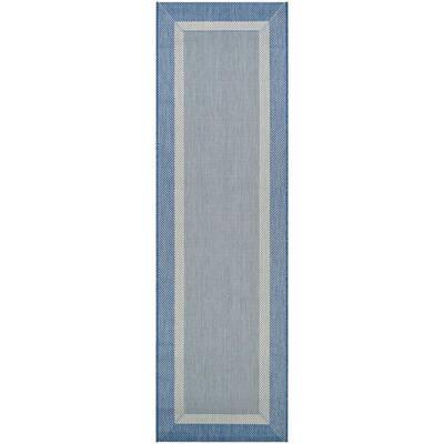 Recife Stria Texture Champagne-Blue 2 ft. x 12 ft. Indoor/Outdoor Runner Rug