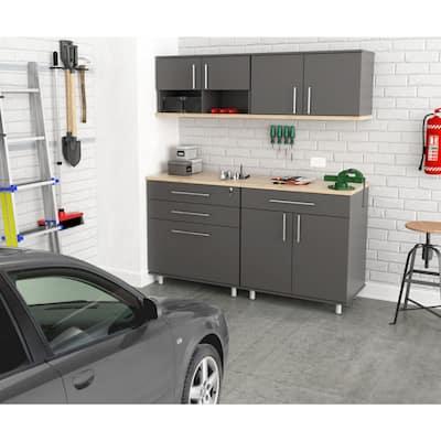 KRATOS 4-Piece Garage Storage System in Dark Gray and Maple (63 in. W x 70.8 in. H x 19.6 in. D)