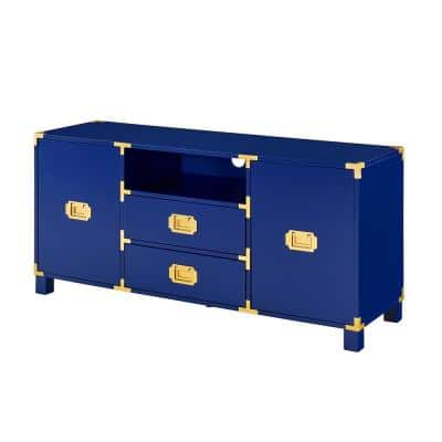 Black 52 in. Navy Engineered Wood TV Stand Fits TVs Up to 50 in.
