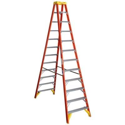 12 ft. Fiberglass Twin Step Ladder with 300 lbs. Load Capacity Type IA Duty Rating