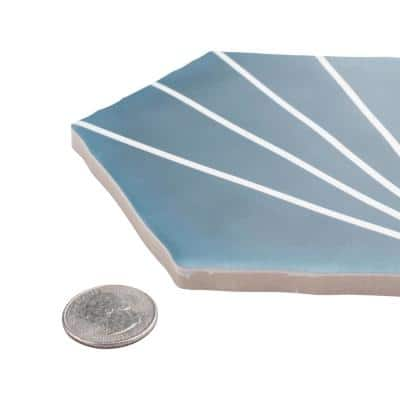 Palm Starburst Hex Blue 6 in. x 7 in. Porcelain Floor and Wall Tile (2.97 sq. ft./Case)
