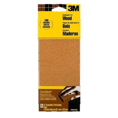 3-2/3 in. x 9 in. 100 Grit Medium Garnet Sand Paper (6 Sheets-Pack) (Case of 20)