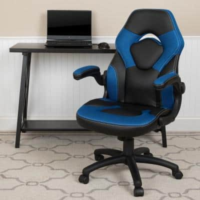 Blue LeatherSoft Upholstery Racing Game Chair