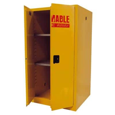 Steel Freestanding Garage Cabinet in Safety Yellow (34 in. W x 65 in. H x 34 in. D)