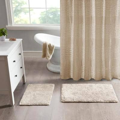 Ritzy 21 in. x 34 in. and 17 in. x 24 in. 2-Piece Natural 100% Cotton Solid Tufted 2 Piece Bath Rug Set