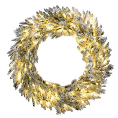 36 in. Pre-Lit Wreath Arrangement with Pinecones