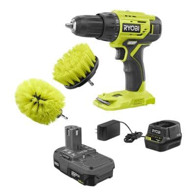 ONE+ 18V Cordless 1/2 in. Drill/Driver Kit w/ 1.5 Ah Battery, Charger, & Medium Bristle Brush Multi-Purpose Cleaning Kit