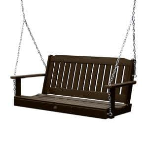Lehigh 60 in. 2-Person Weathered Acorn Recycled Plastic Porch Swing