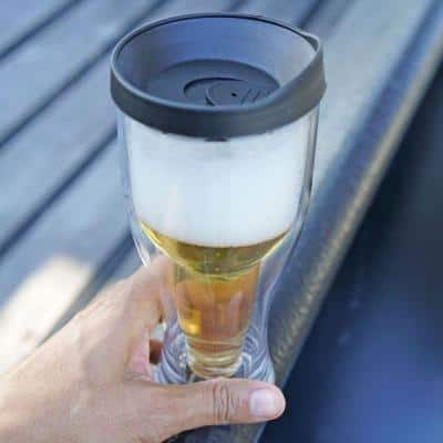 Black Lid 14 oz. Double Wall Acrylic Beer Tumbler