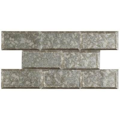 Lustre Beveled Antique Mirror 3 in. x 6 in. Glass Subway Wall Tile (10.95 sq. ft. / Case)