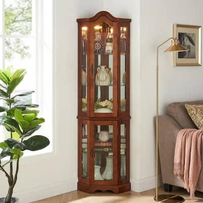 Floor Standing Medium Wood Corner China Cabinet with 5-Tier Adjustable Glass Shelves