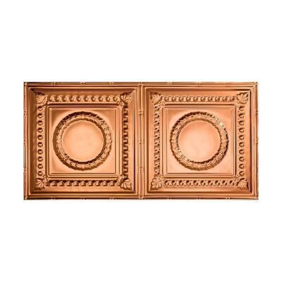 Rosette 2 ft. x 4 ft. Glue Up Vinyl Ceiling Tile in Polished Copper (40 sq. ft.)