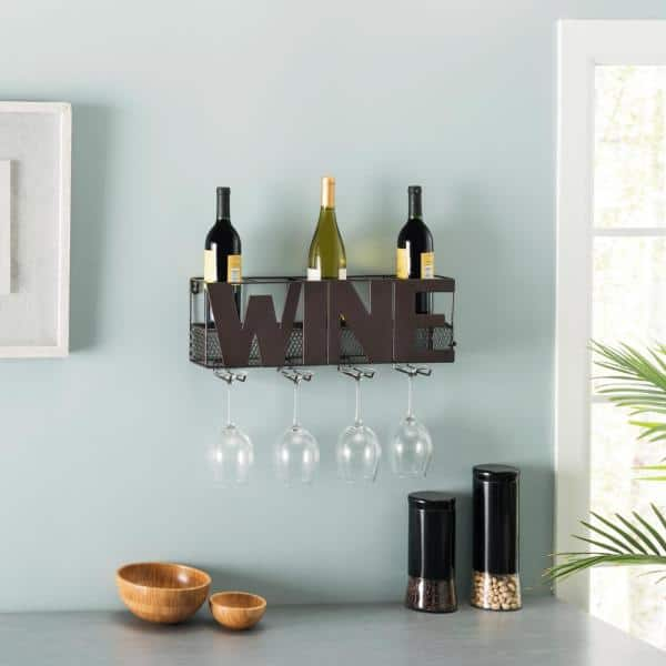 Danya B Five Bottle Brown Wall Mount Wine Holder With Glass Rack Hg12507 The Home Depot