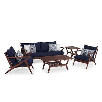 Vaughn 5-Piece Wood Patio Conversation Set with Sunbrella Navy Blue Cushions