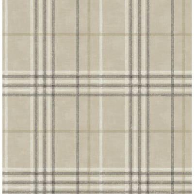 Rockefeller Beige Plaid Beige Wallpaper Sample