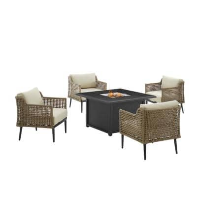 Southwick Brown 5-Piece Wicker Patio Fire Pit Set with Creme Cushions