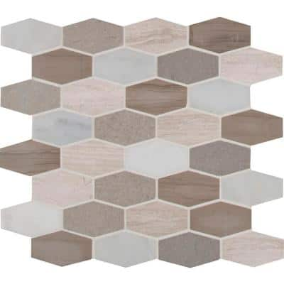 Bellagio Blend Elongated Hexagon 12 in. x 12 in. x 10 mm Honed Marble Mosaic Tile (10 sq. ft. / case)