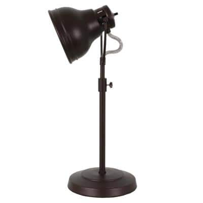 21 in. Oil Rubbed Bronze Desk Task Indoor Table Lamp with Adjustable Shade