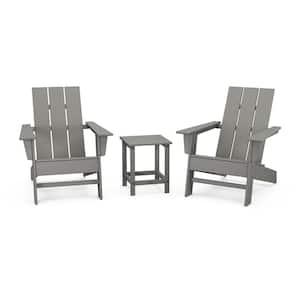 Grant Park Plastic Outdoor Patio 3-Piece Slate Grey Adirondack Chairs Set