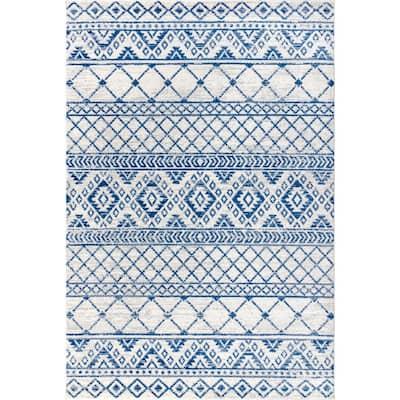 Moroccan HYPE Boho Vintage Tribal Cream/Blue 3 ft. x 5 ft. Area Rug