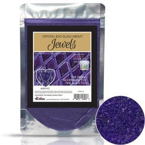 Crystal Glass Grout Jewels Amethyst 75 grams (1-Pack)