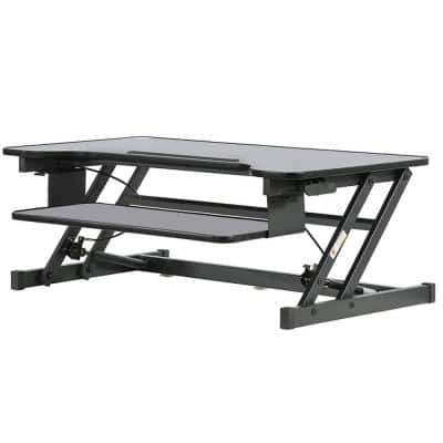 21 in. Rectangular Black with Adjustable Height Feature Writing Metal Desk
