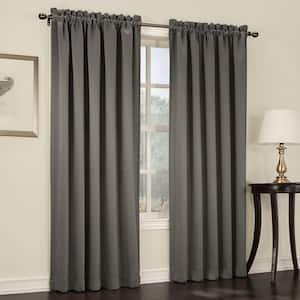 Steel Solid Rod Pocket Room Darkening Curtain - 54 in. W x 95 in. L