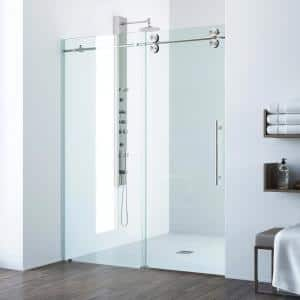 Elan 56 to 60 in. x 74 in. Frameless Sliding Shower Door in Stainless Steel with Clear Glass and Handle