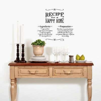 Black Lettering Happy Home Peel and Stick Wall Decals (2-Sheets)