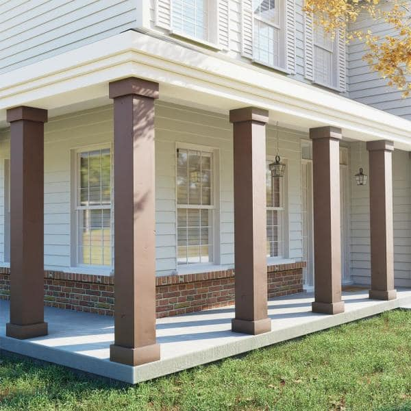 Ekena Millwork 6 In X 14 Ft Knotty Pine Endurathane Faux Wood Non Tapered Square Column Wrap W Standard Capital Base Colukp06x168stuf The Home Depot