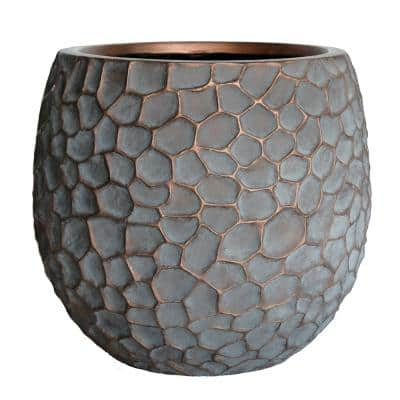 18 in. D Large Patina Grey Composite Hammered Planter