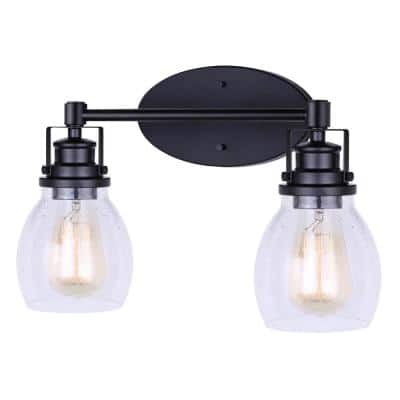 Carson 16 in. 2-Light Matte Black Vanity Light with Seeded Glass Shade