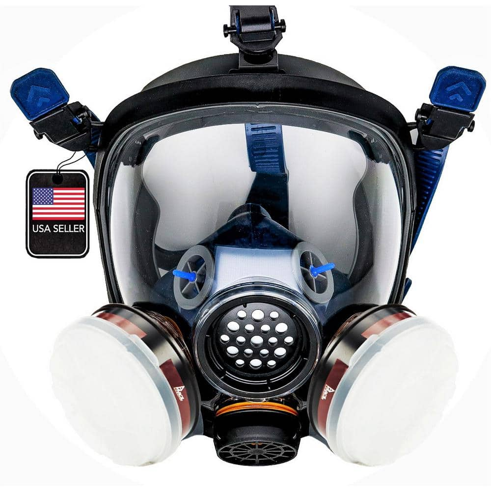 PARCIL DISTRIBUTION Full Face Organic Vapor Respirator and Gas Mask with 2 Threaded P-A-1 Replacement Filters