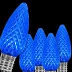 OptiCore C9 LED Blue Faceted Christmas Light Bulbs (25-Pack)