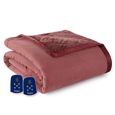 Reverse to Ultra Velvet King Merlot Electric Comforter/Blanket