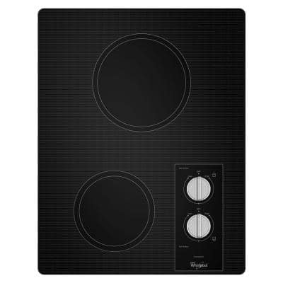 15 in. Ceramic Radiant Glass Electric Cooktop in Black with 2 Elements