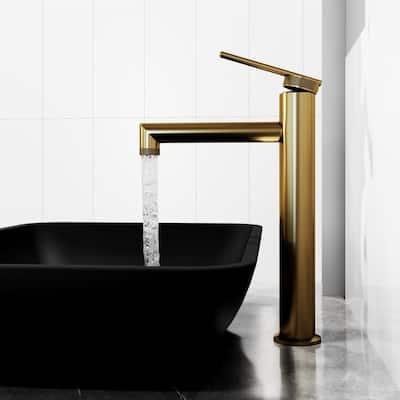 Sterling Single-Handle Vessel Sink Faucet in Matte Brushed Gold