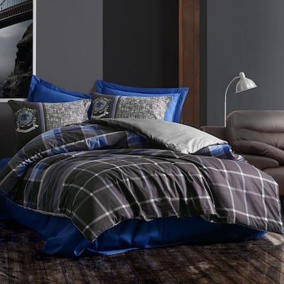 Blue Gray Royalty Duvet Cover Set : Anthracite, Full Size Duvet Cover, 1-Duvet Cover, 1-Fitted Sheet and 2-Pillowcases