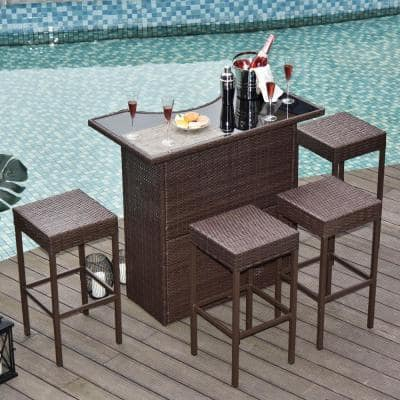 Glass Tabletop Outdoor Bar Sets, Outdoor Bar Height Glass Top Table