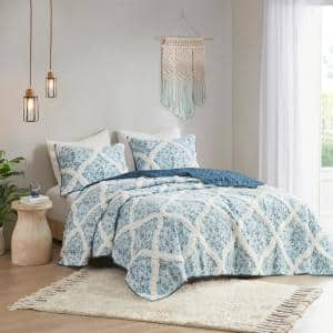 Ailey 3-Piece Teal Full/Queen Cotton Coverlet Set